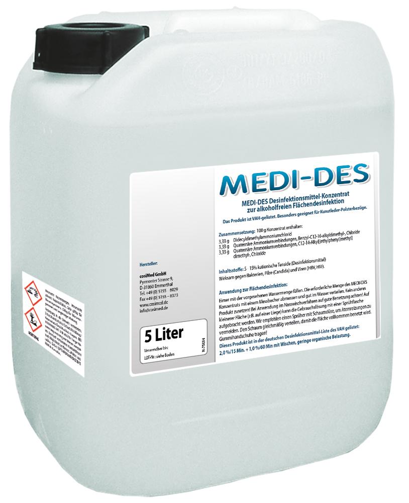 MEDI-DES Desinfektionsmittel Konzentrat 5 Liter Kanister